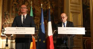 Minister for Foreign Affairs Simon Coveney with  French foreign minister Jean-Yves Le Drian in Paris on Wednesday