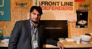 "Shahzad Ahmed of the anti-online censorship organisation Bytes For All: ""Front Line Defenders have been on top not only to save many threatened lives, but also safeguarding critical human rights movements in Pakistan."" Photograph: Dara Mac Dónaill/The Irish Times"
