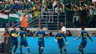 Boca Juniors celebrate Ramon Avila's opener in their 2-2 draw away to Palmeiras. Photograph:  Alexandre Schneider/Getty