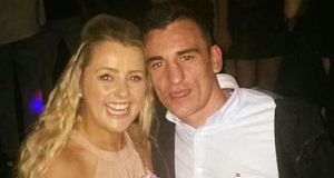 Tina Cahill pictured with late fiance David Walsh