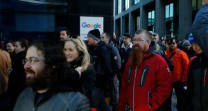 Google staff during walkout at the Dublin office in Barrow Street. Photograph: Nick Bradshaw