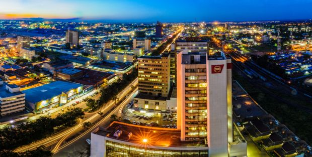 Photo of Lusaka city at night.