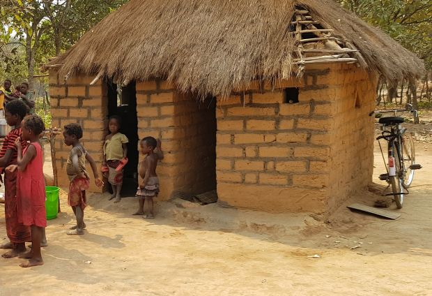 The home of Moses and Lydia Mwape, and their four children, in Chabatama.
