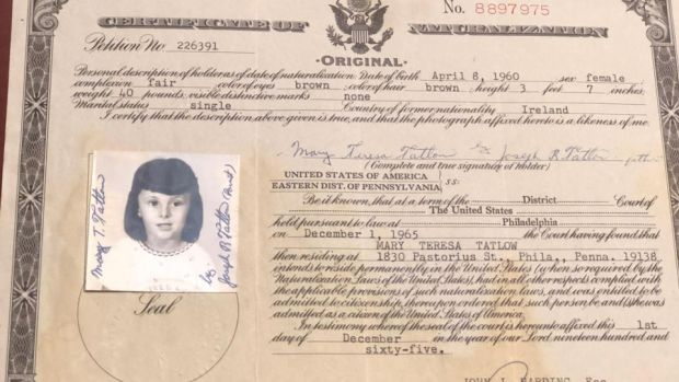 "Mari Steed's naturalisation document: ""You have a right to know your identity."""