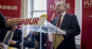 Labour Party leader Brendan Howlin says he has written to SDLP leader Colum Eastwood asking him to outline his intentions regarding a potential merger with Fianna Fáil. Photograph: Brenda Fitzsimons
