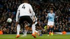 Manchester City's Brahim Diaz  opens the scoring in the  Carabao Cup fourth-round match against  Fulham at the Etihad Stadium. Photograph:  Andrew Yates/Reuters