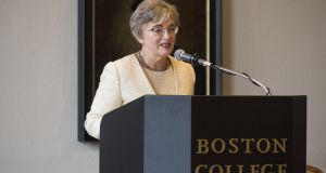 "Speaking at Boston College, Minister for Children Katherine Zappone said: ""I anticipate that in our drafting of the legislation in order to do the exhumation and excavation of the Tuam site, the issue of 'is this just for Tuam or is it for other possible sites' will be addressed."" Photograph: Peter Julian/Boston College"