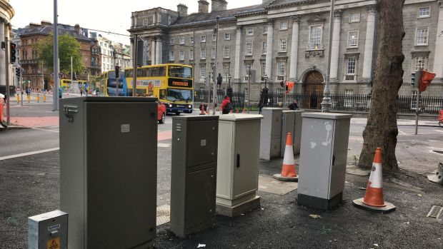 Street clutter: boxes located on College Green close to the new Luas lines. Photograph: Bryan O'Brien