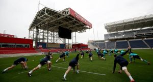 "The Ireland squad preparing for the game against Italy in Chicago. ""In a game that used to be about giving to the community, the local American rugby community has come last."" Photograph: Dan Sheridan/Inpho"