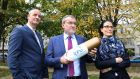 IPHA president GSK's Aidan Lynch (centre); IPHA vice-president Paul Reid (Pfizer); and Bayer's Itziar Canamasas with the Manifesto for Better Health ahead of the IPHA annual conference on November 8th. Photograph: Justin Mac Innes