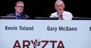 Aryzta CEO Kevin Toland and chairman Gary McGann attend the company's annual shareholder meeting in Duebendorf, Switzerland, on Thursday. Photograph: Arnd Wiegmann/Reuters