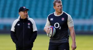 England coach Eddie Jones with Dylan Hartley during training at Twickenham on Friday. Photograph: Reuters