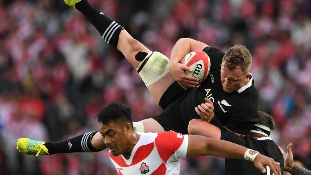 New Zealand's Gareth Evans catches the ball during the Test match against Japan in Tokyo. Photograph: Toshifumi Kitamura/AFP/Getty Images