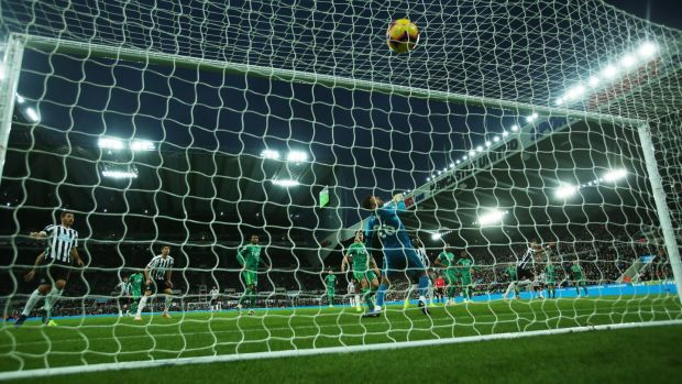 Watford goalkeeper Ben Foster is beaten by the shot of Ayoze Perez of Newcastle United during the Premier League match at St James' Park. Photograph: Ian MacNicol/Getty Images