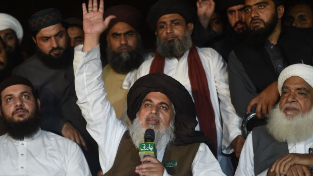 Khadim Hussain Rizvi, head of the Tehreek-e-Labaik Pakistan (TLP), a hardline religious political party, during a press conference in Lahore on Friday. Photograph: Arif Ali/AFP/Getty Images