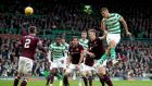 Celtic's Filip Benkovic heads in his side's  second goal during the Scottish Premier  match against Hearts at Celtic Park. Photograph:  Jane Barlow/PA Wire