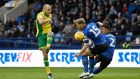 Teemu Pukki in action for  Norwich City  against Tom Lees and Liam Palmer of Sheffield Wednesday during the  Championship match  at Hillsborough. Photograph: George Wood/Getty Images