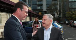 Labour leader Brendan Howlin (right) greets the party's spokesperson on health Alan Kelly at the party conference in Dublin on Saturday. Photograph: Brian Lawless/PA Wire
