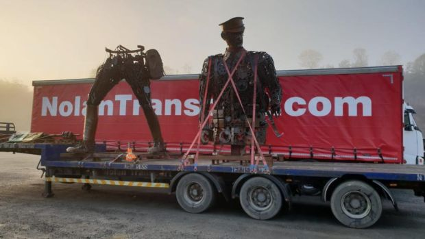 The 'Haunting Soldier', which was removed to Dublin by Nolan Transport, will be unveiled in St Stephen's Green, Dublin, on Sunday.