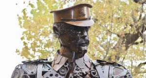 'Haunting Soldier': Created in 2017 in Dorset, England, from bits of scrap metal, this monumental installation is temporarily located (as above) at St Stephen's Green in Dublin. Photograph: Ronan McGreevy