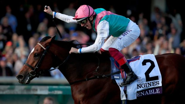 Jockey Frankie Dettori celebrates after Enable's victory in the Breeders' Cup Turf at Churchill Downs in Louisville, Kentucky. Photograph: Andy Lyons/Getty Images