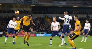 Tottenham's Lucas Moura scores their second goal during the  Premier League game at  Molineux Stadium. Photograph:  Peter Powell/Reuters