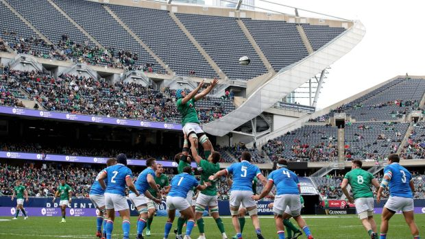 Ireland's Tadhg Beirne gets up to take the lineout throw during the match against Italy at Soldier Field in Chicago. Photograph: Dan Sheridan/Inpho