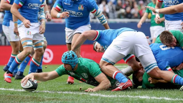Tadhg Beirne stretches out to score Ireland's first try against Italy at Soldier Field in Chicago. Photograph: Dan Sheridan/Inpho