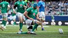 Ireland's Tadhg Beirne goes over for the third try in their win over Italy at Soldier Field, Chicago. Photo: Dan Sheridan/Inpho