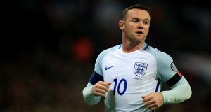 Wayne Rooney's last international appearance for England was in the 3-0 World Cup qualifying win against Scotland at Wembley in  November 2016. Photograph: Mike Egerton/PA Wire