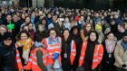 Some 20,000 Google employees worldwide – more than one in five, including staff based in Dublin (above) – left their desks to gather outside their workplaces in an unprecedented mass walkout Thursday morning. Photograph: Gareth Chaney/Collins