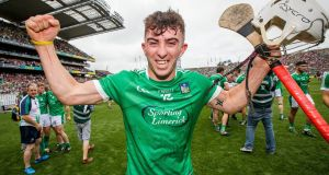Limerick's Aaron Gillane celebrating  after winning the  hurling All-Ireland final in August 2018. He had his usual breakfast made by his mother that morning. Photograph: Ryan Byrne/Inpho