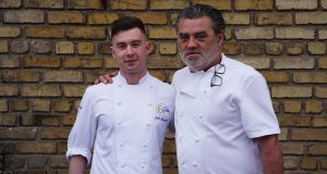 Jack Lenards (left), winner of the Euro-Toques young chef competition, with guest judge Liam Tomlin from South Africa.