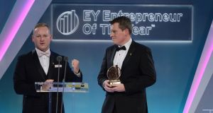 Daniel Mackey and Peter Coppinger of Teamwork.com, overall winners of this year's  International Award at the EY Entrepreneur of the Year Awards. Photograph: Dave Meehan