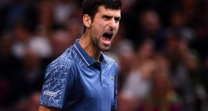 Novak Djokovic during  the final of the Paris Masters against Karen Khachanov of Russia.   Photograph: Justin Setterfield/Getty Images