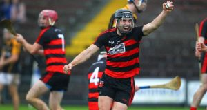 Ballygunner's JJ Hutchinson celebrates at the final whistle of the AIB Munster Club SHC semi-final against Ballyea at Walsh Park. Photograph: Ken Sutton/Inpho
