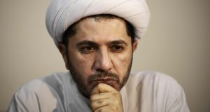 Image taken on November 20th, 2014, of Bahrain's al-Wefaq  leader Sheikh Ali Salman  in  Zinj. File photograph: Mohammed al-Shaikh/AFP/Getty Images
