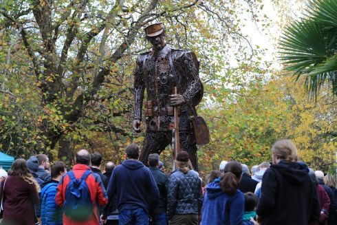 HAUNTING SOLDIER: A towering 20ft sculpture of a first World War combatant (entitled The Haunting Soldier), created from scrap metal in Dorset, England, has been set up temporarily in St Stephen's Green, Dublin, to mark the centenary of the armistice. Photograph: Nick Bradshaw/The Irish Times