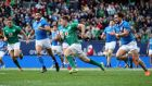 Ireland's Luke McGrath running in to score his side's second try at Solider Field, Chicago. Photograph: Dan Sheridan/Inpho