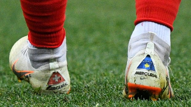 Shaqiri also wore a Kosovo flag on the back of his boots during the World Cup match. Photo: Johannes Eisele/Getty Images