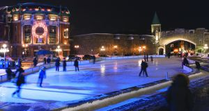 The ice-skating rink at Patinoire de la Place D'Youville in Québec City.