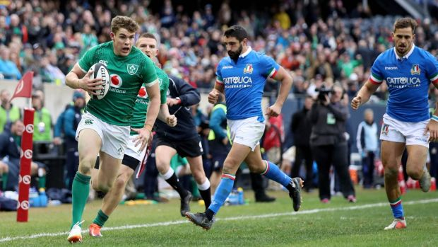 Garry Ringrose scores Ireland's seventh try in the game against Italy at Soldier Field in Chicago. Photograph: Dan Sheridan/Inpho