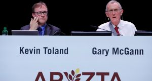 Aryzta chief executive Kevin Toland and chairman Gary McGann attend the company's annual shareholder meeting outside Zurich on November 1st. Photograph: Arnd Wiegmann/Reuters