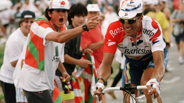Spain's Miguel Indurain in action on Stage 16 of the 1996 Tour de France from Agen to Lourdes-Hautacam. Photograph: Mike Powell/Allsport