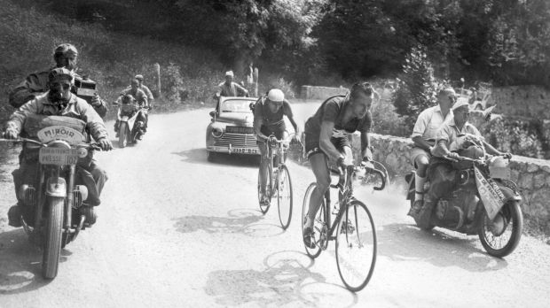 Swiss Hugo Koblet leads in front of Italian Fausto Coppi during the 14th stage of the 1951 Tour de France between Tarbes and Luchon. Photograph: AFP/Getty Images