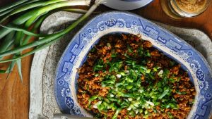 Dirty rice, with pork mince and chicken livers