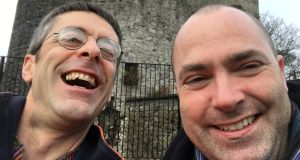 Julian Gough, left, and Donal Ryan in Nenagh