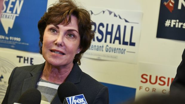 Democratic Senate candidate Jacky Rosen is in with a strong chance in Nevada. Photograph: Bridget Bennett/Bloomberg