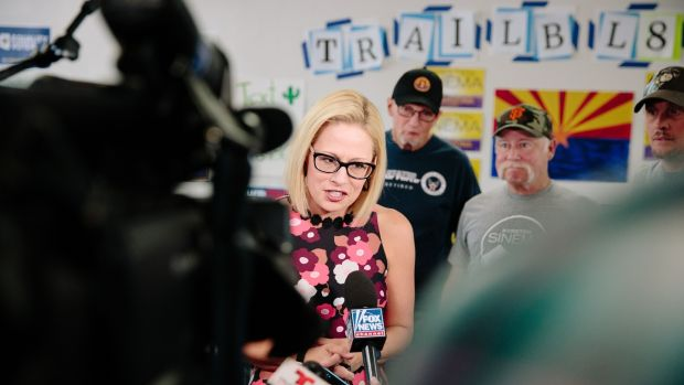 Democrat Krysten Sinema hopes to pick up the Senate seat currently held by Jeff Flake in Arizona. Photograph: Caitlin O'Hara/Bloomberg