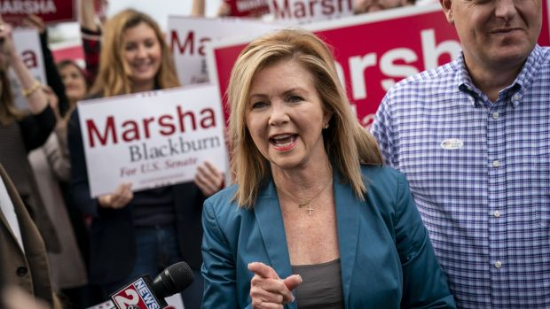 Republican Marsha Blackburn hopes to claim the seat being vacated by retiring senator Bob Corker in Tennessee. Photograph: Drew Angerer/Getty Images